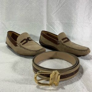 Men's Moreschi Suede & Alligator Shoes & Belt